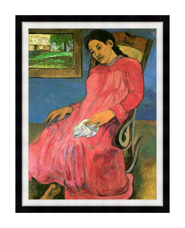 Paul Gauguin The Dreamer with Modern Black Frame
