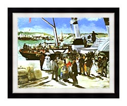 Edouard Manet The Departure Of The Folkestone Boat canvas with modern black frame