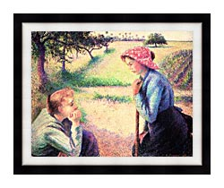 Camille Pissarro The Chat canvas with modern black frame