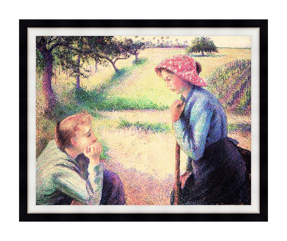 Camille Pissarro The Chat with Modern Black Frame