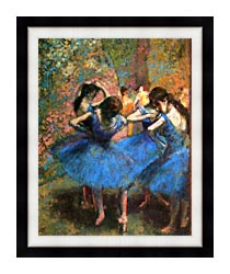 Edgar Degas Dancers In Blue canvas with modern black frame