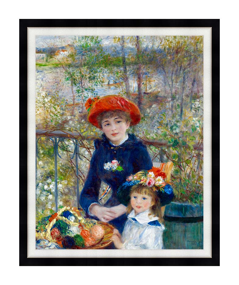 Pierre Auguste Renoir Two Sisters on the Terrace with Modern Black Frame
