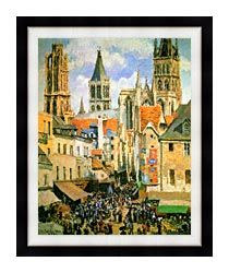 Camille Pissarro The Old Market Place In Rouen And The Rue De Lepicerie canvas with modern black frame