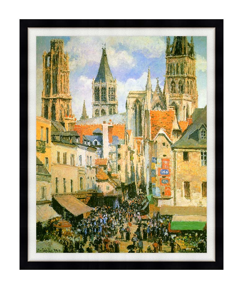 Camille Pissarro The Old Market-Place in Rouen and the Rue de l'Epicerie with Modern Black Frame