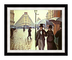Gustave Caillebotte Paris A Rainy Day canvas with modern black frame
