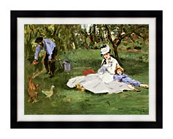 Edouard Manet The Monet Family In Their Garden At Argenteuil canvas with modern black frame