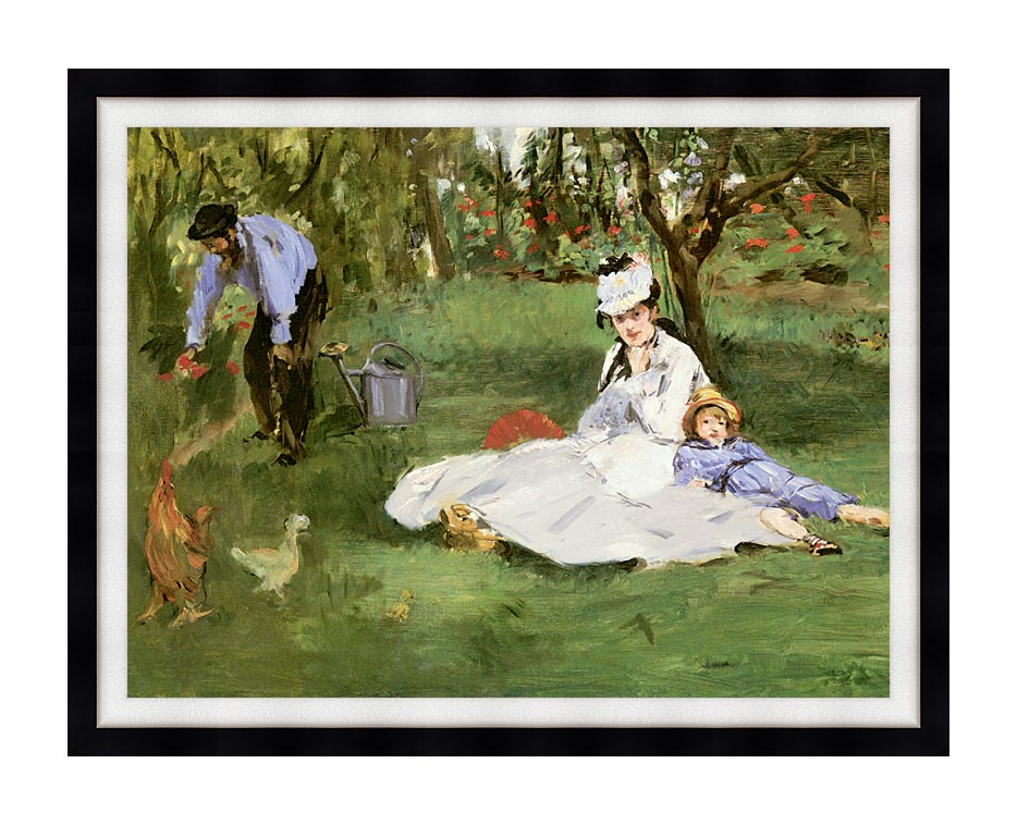 Edouard Manet The Monet Family in their Garden at Argenteuil with Modern Black Frame