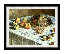 Claude Monet Still Life Apples And Grapes canvas with modern black frame
