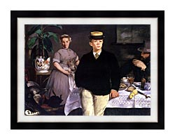 Edouard Manet Luncheon In The Studio canvas with modern black frame