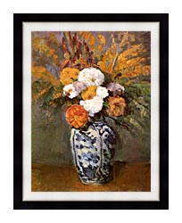 Paul Cezanne Dahlias In A Delft Vase canvas with modern black frame