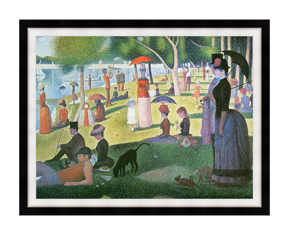 Georges Seurat Sunday Afternoon on the Island of La Grande Jatte with Modern Black Frame