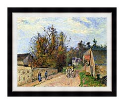 Camille Pissarro The Mailcoach   The Road From Ennery To The Hermitage canvas with modern black frame