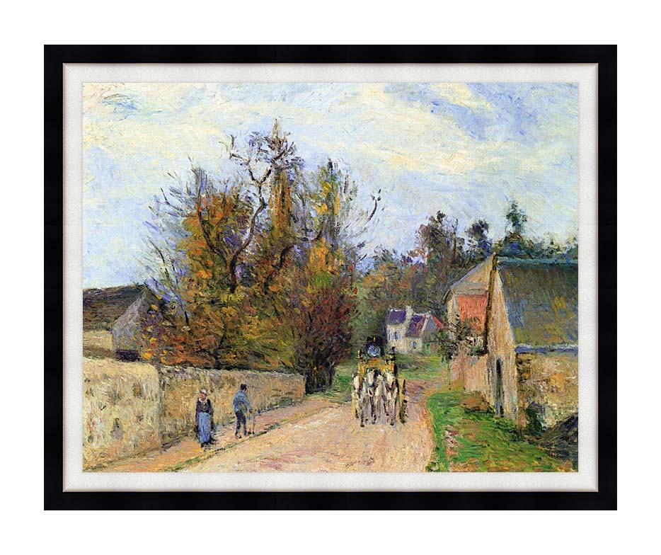 Camille Pissarro The Mailcoach - The Road from Ennery to the Hermitage with Modern Black Frame