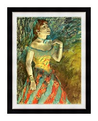 Edgar Degas The Singer In Green canvas with modern black frame