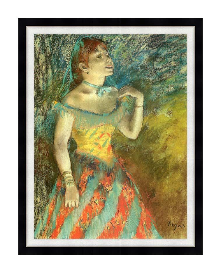 Edgar Degas The Singer in Green with Modern Black Frame