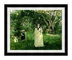 Berthe Morisot Chasing Butterflies canvas with modern black frame