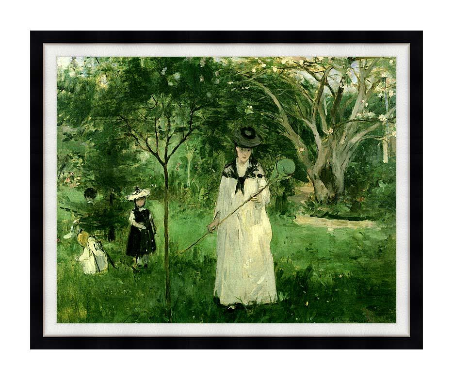 Berthe Morisot Chasing Butterflies with Modern Black Frame