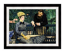 Edouard Manet In The Conservatory canvas with modern black frame