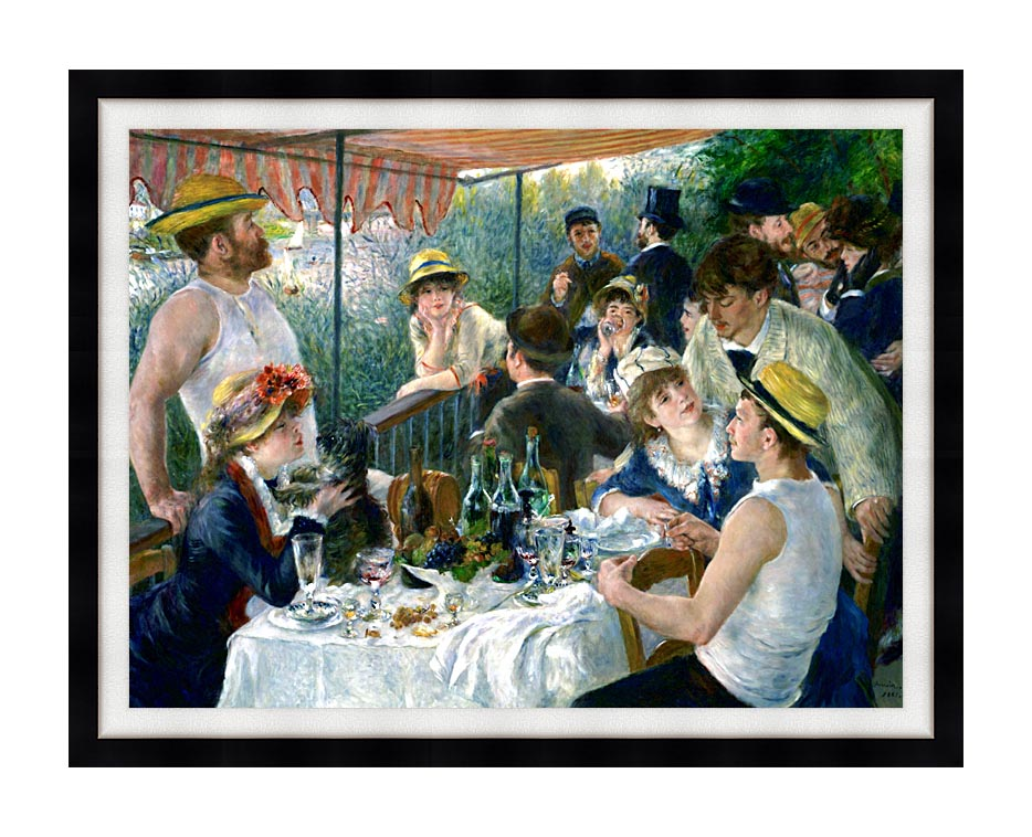 Pierre Auguste Renoir The Luncheon of the Boating Party with Modern Black Frame