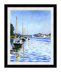 Gustave Caillebotte Boats On The Seine At Argenteuil canvas with modern black frame