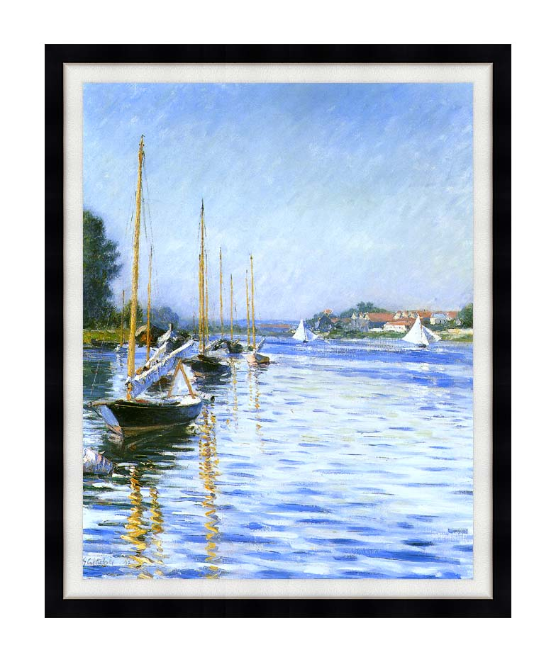 Gustave Caillebotte Boats on the Seine at Argenteuil with Modern Black Frame