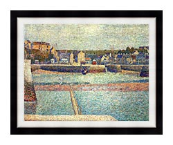 Georges Seurat Port En Bessin The Outer Harbor At Low Tide canvas with modern black frame