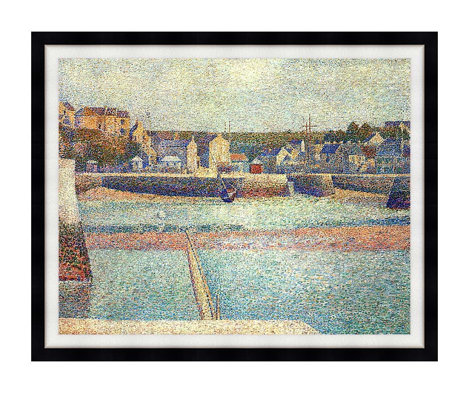 Georges Seurat Port-en-Bessin, The Outer Harbor at Low Tide with Modern Black Frame