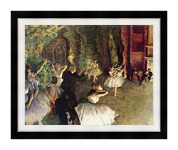 Edgar Degas Ballet Rehearsal On Stage canvas with modern black frame