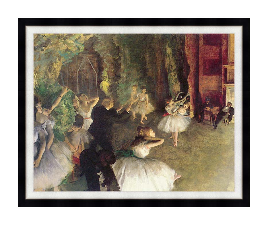 Edgar Degas Ballet Rehearsal on Stage with Modern Black Frame