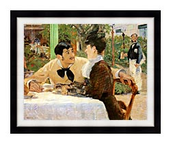 Edouard Manet In The Garden Restaurant Of Pere Lathuille canvas with modern black frame