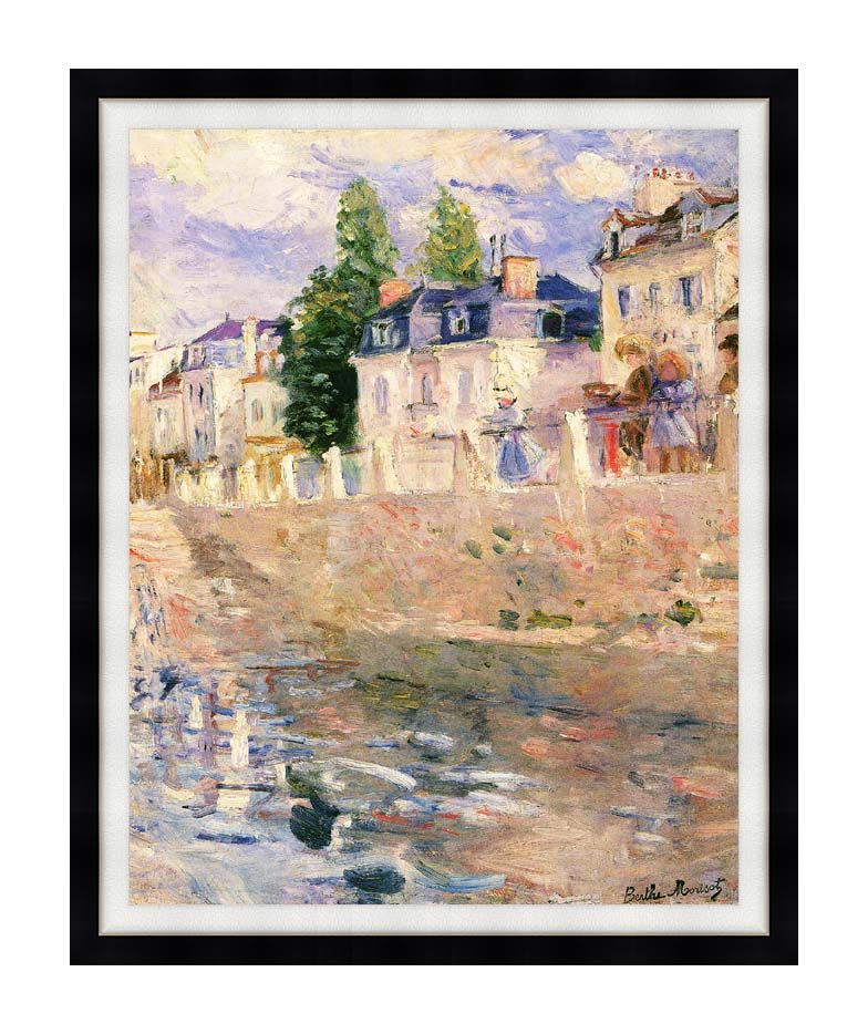 Berthe Morisot The Quay at Bougival with Modern Black Frame