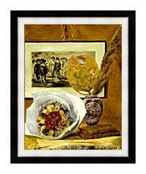 Pierre Auguste Renoir Still Life With Bouquet canvas with modern black frame
