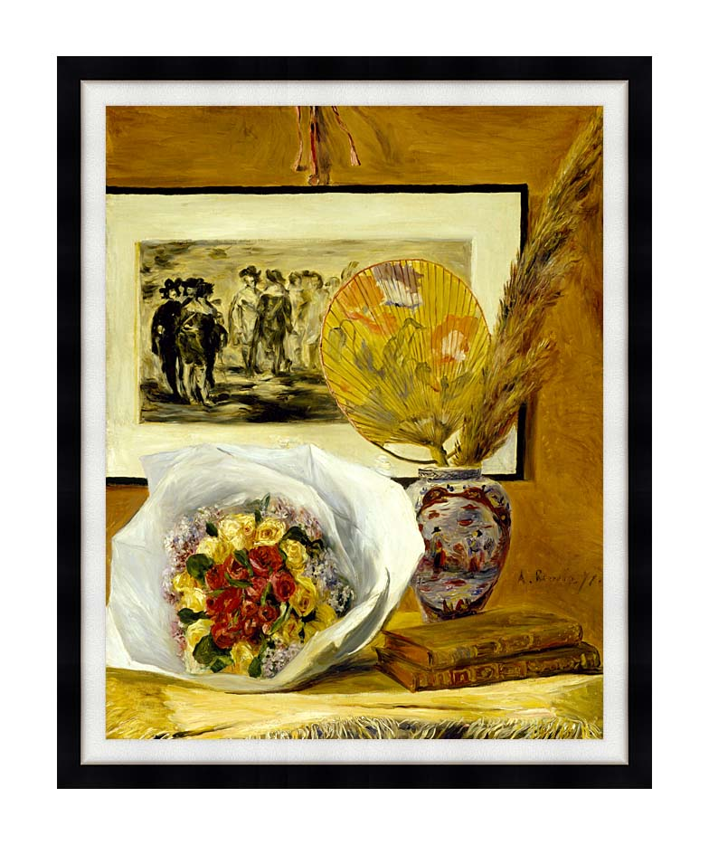 Pierre Auguste Renoir Still Life with Bouquet with Modern Black Frame