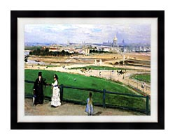 Berthe Morisot View Of Paris From The Trocadero canvas with modern black frame