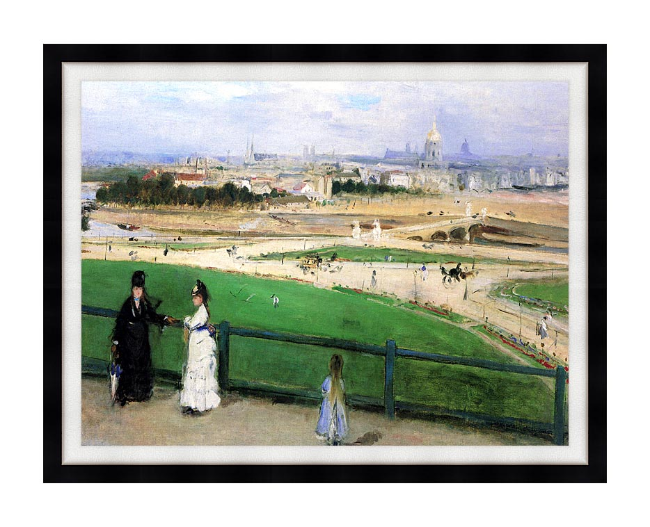 Berthe Morisot View of Paris from the Trocadero with Modern Black Frame