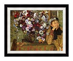 Edgar Degas Woman With Chrysanthemums canvas with modern black frame