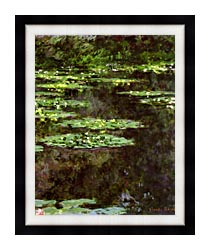 Claude Monet Water Lilies 1904 Portrait Detail canvas with modern black frame