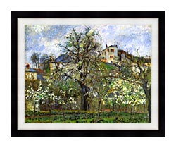 Camille Pissarro Kitchen Garden And Flowering Trees Spring Pontoise canvas with modern black frame