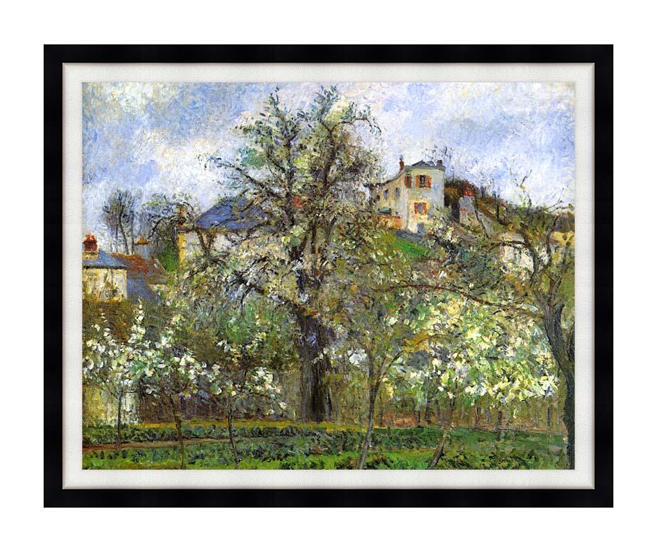 Camille Pissarro Kitchen Garden and Flowering Trees, Spring, Pontoise with Modern Black Frame