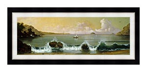 Martin Johnson Heade Rio De Janeiro Bay Panoramic View canvas with Modern Black frame