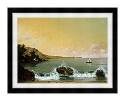 Martin Johnson Heade Rio De Janeiro Bay Left Detail canvas with modern black frame