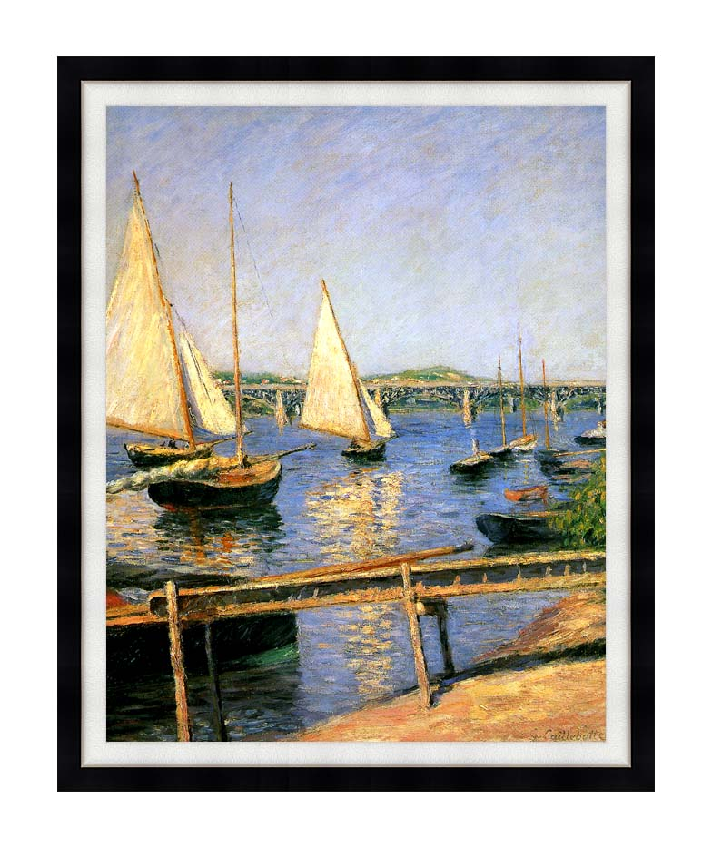 Gustave Caillebotte Sailing Boats at Argenteuil with Modern Black Frame