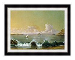 Martin Johnson Heade Rio De Janeiro Bay Right Detail canvas with modern black frame