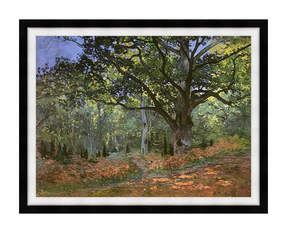 Claude Monet The Bodmer Oak, Forest of Fontainebleau with Modern Black Frame