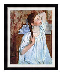 Mary Cassatt Girl Arranging Her Hair canvas with modern black frame