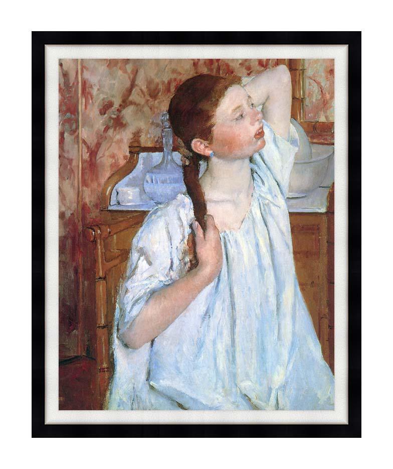 Mary Cassatt Girl Arranging Her Hair with Modern Black Frame