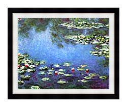 Claude Monet Water Lilies 1906 Detail canvas with modern black frame