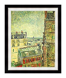 Vincent Van Gogh Paris Seen From Vincents Room In The Rue Lepic canvas with modern black frame