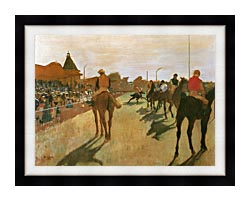 Edgar Degas Racehorses Before The Stands canvas with modern black frame