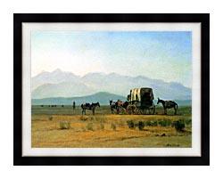 Albert Bierstadt Surveyors Wagon In The Rockies canvas with modern black frame